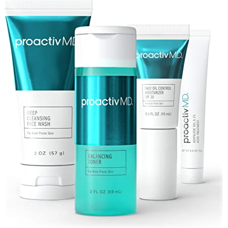 ProactivMD Adapalene Gel Acne Kit - Complete Retinol Moisturizer and Toner Combo Kit with Deep Cleansing and Exfoliating Acne Face Wash, Balancing Toner, Daily Oil Control with SPF 30
