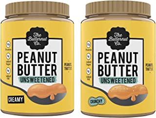 The Butternut Co. Peanut Butter Unsweetened, Crunchy 1KG (No Added Sugar, Vegan, High Protein,Keto) + The Butternut Co. Pe...
