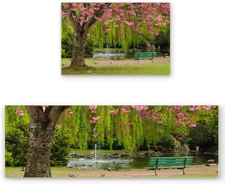 Flower Theme Door mat 2 Piece Set, Pink Sakura Tree Beside The Romantic Lake Doormat Rug,Decorative Felt Floor Mat with Non-Skid Backing,Fit for Indoor,Kitchen,Bedroom (19.7x31.5in+19.7x63in)