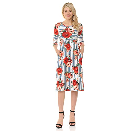 d53317f90a9 iconic luxe Women s Fit and Flare Midi Dress with Pockets in Solid and  Floral - Made