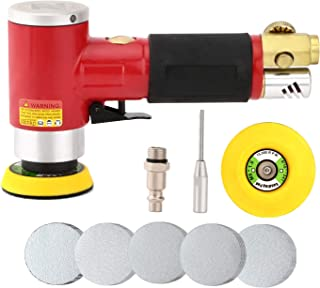 2/3 Inch Random Orbital Air Sander, Mini Pneumatic Sander for Auto Body Work, High Speed Air Powered Sanders & Polisher with 30 Sandpapers