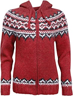 Brynja 100% Icelandic Wool Hand Knitted Jumper with Zipper and Hood