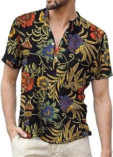 قمصان رجالي من القطن من Goodstoworld من الكتان هينلي 4 أزرار عادية شاطئ هاواي الصيف