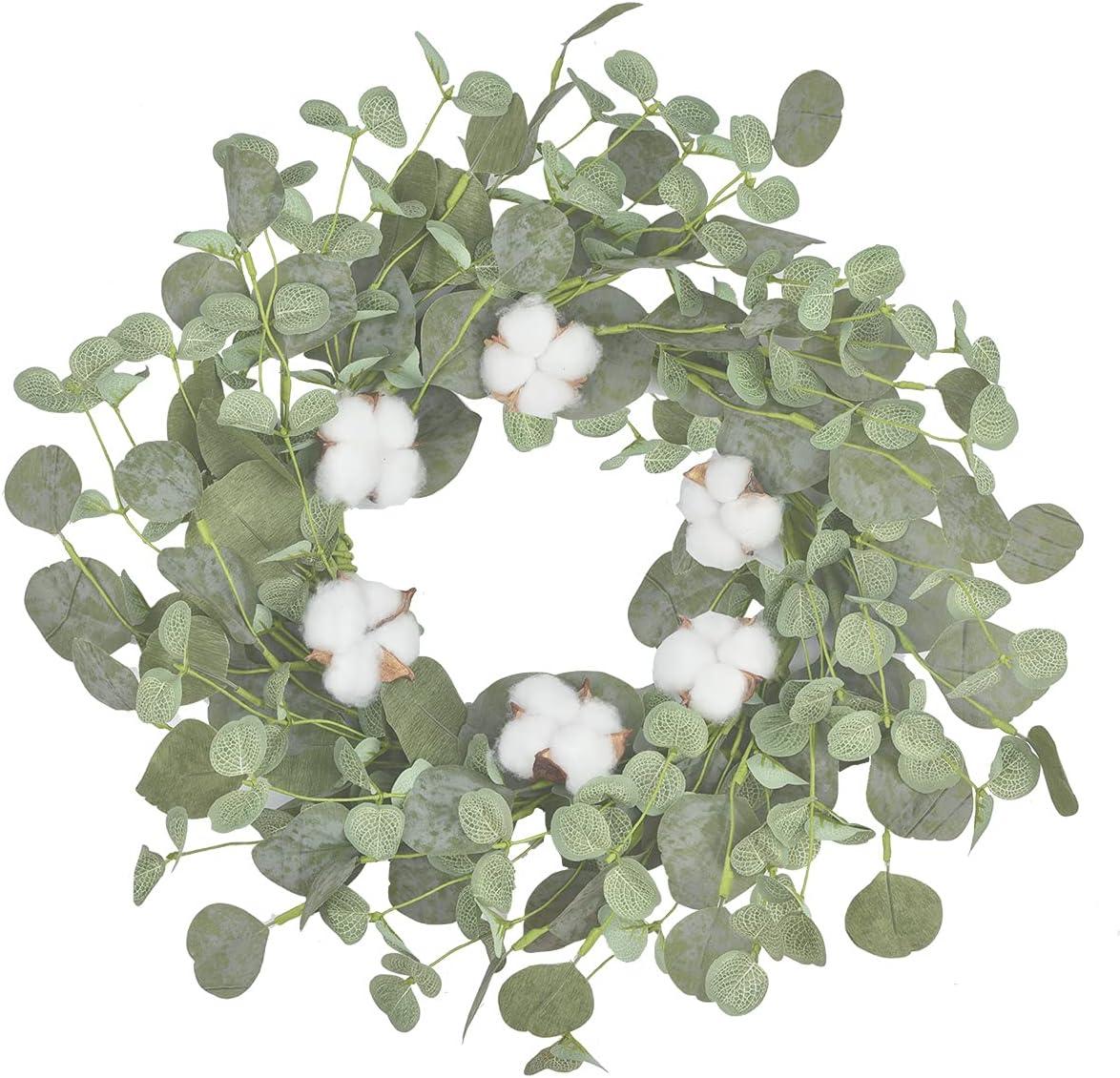 Eucalyptus Leaves Wreath Cotton Wreath - 15Inch Farmhouse Wreath Handmade Wreathes for Home Wall Door Decor
