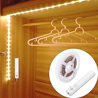LUXJET® 45LED 150cm tira luz cuerdaLuz Armario Luz LED Nocturna con Sensor de Movimiento para Pasillo Baño Armario Cocina...