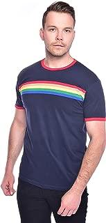 Run & Fly Mens 70s Navy Indie Retro Rainbow Striped T Shirt