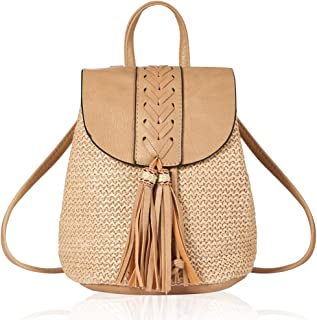 Mini Woven Backpack with Tassel PU Leather Shoulder Bag Kids Schoolbag Beach Bag