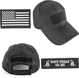 GES Operator Cap Bundle Tactical Hat with USA Flag/Dont Tread On Me Patches