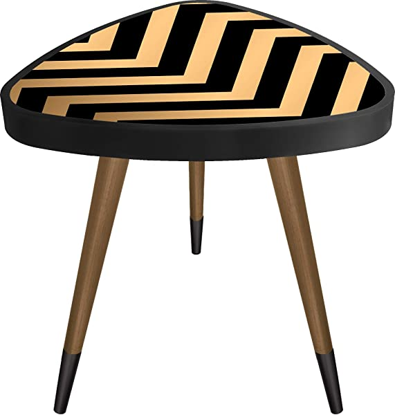 Casaculina End Table Wavy Striped Triangle Vintage Retro Side Table Sofa Table Mid Century Modern Design Wooden Coffee Table Cocktail Table For Living Room Bedroom Or Home Office
