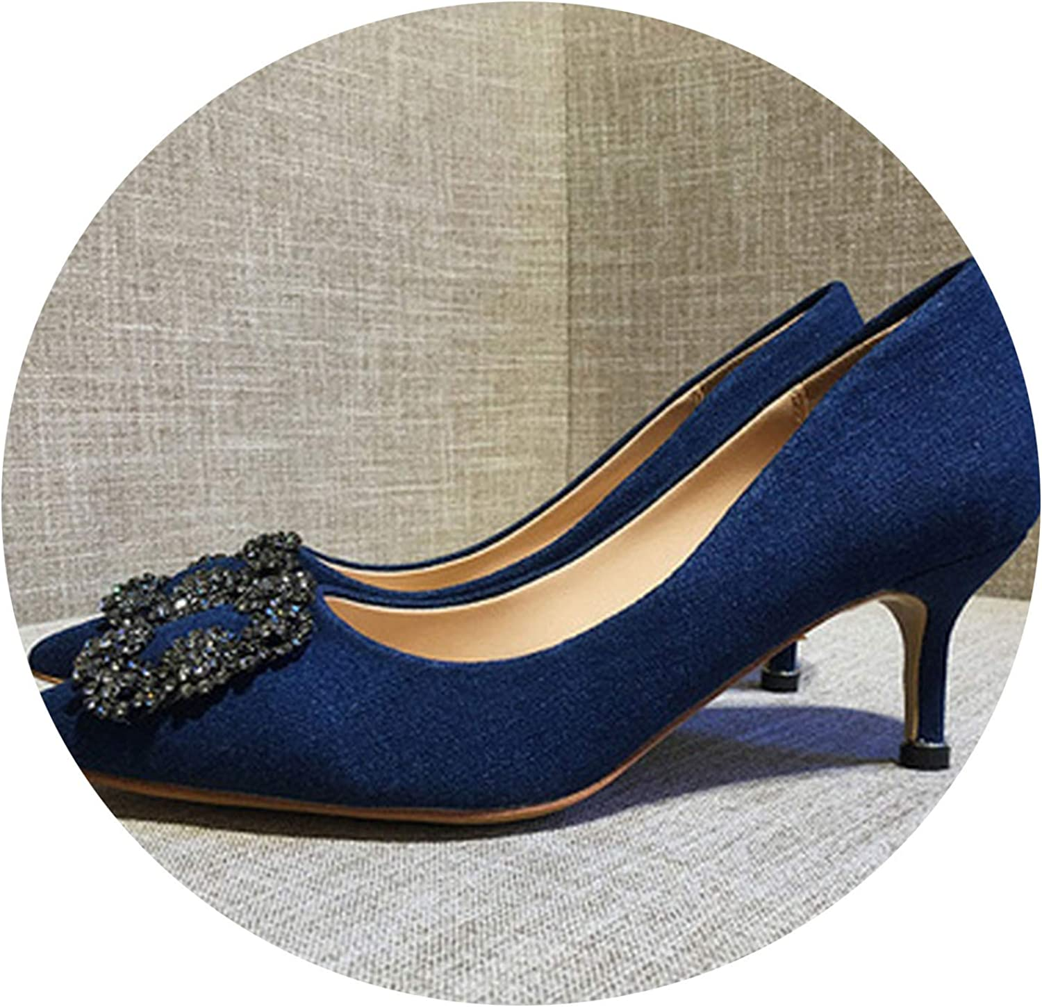 Crunchy Candy Sexy Lady Pointed Toe Diamond Shining Square Button Buckle Pumps Elegant High Heel 6cm