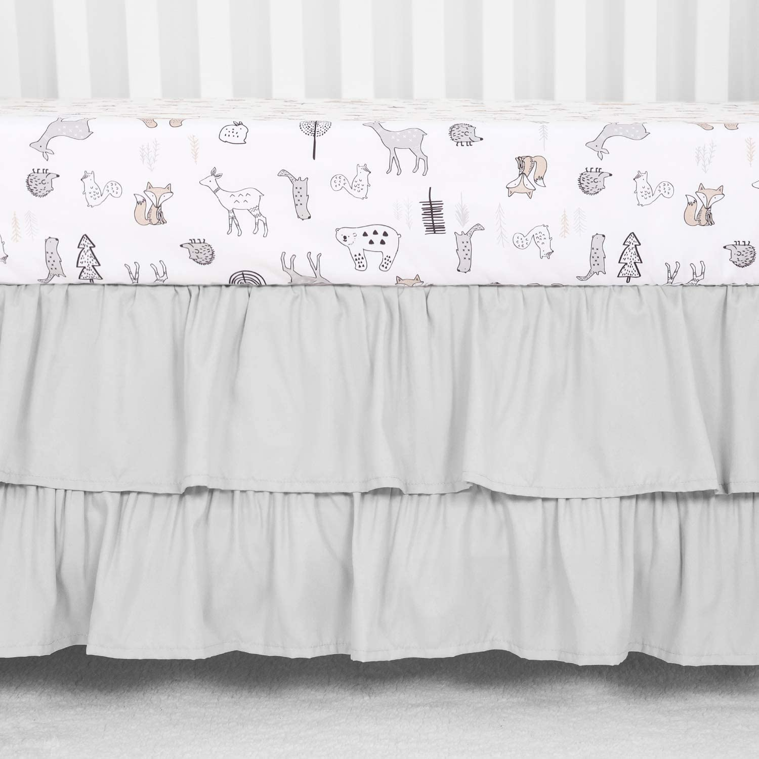 TILLYOU Crib Skirt Store Dust Ruffle Layer Microfiber Double Manufacturer direct delivery Nursery