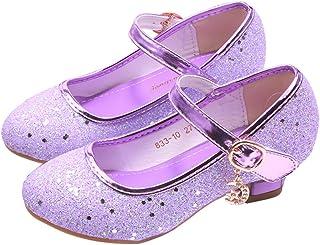 YOSICIL Mädchen Schuhe Prinzessin Festliche Schuhe Niedriger Absatz Glitzer Schuhe Kinder Hochzeit Schuhe zum Abendkleid Fasching Halloween Karneval Tanzball Party Lila Pink Silber Blau Gr 27-38