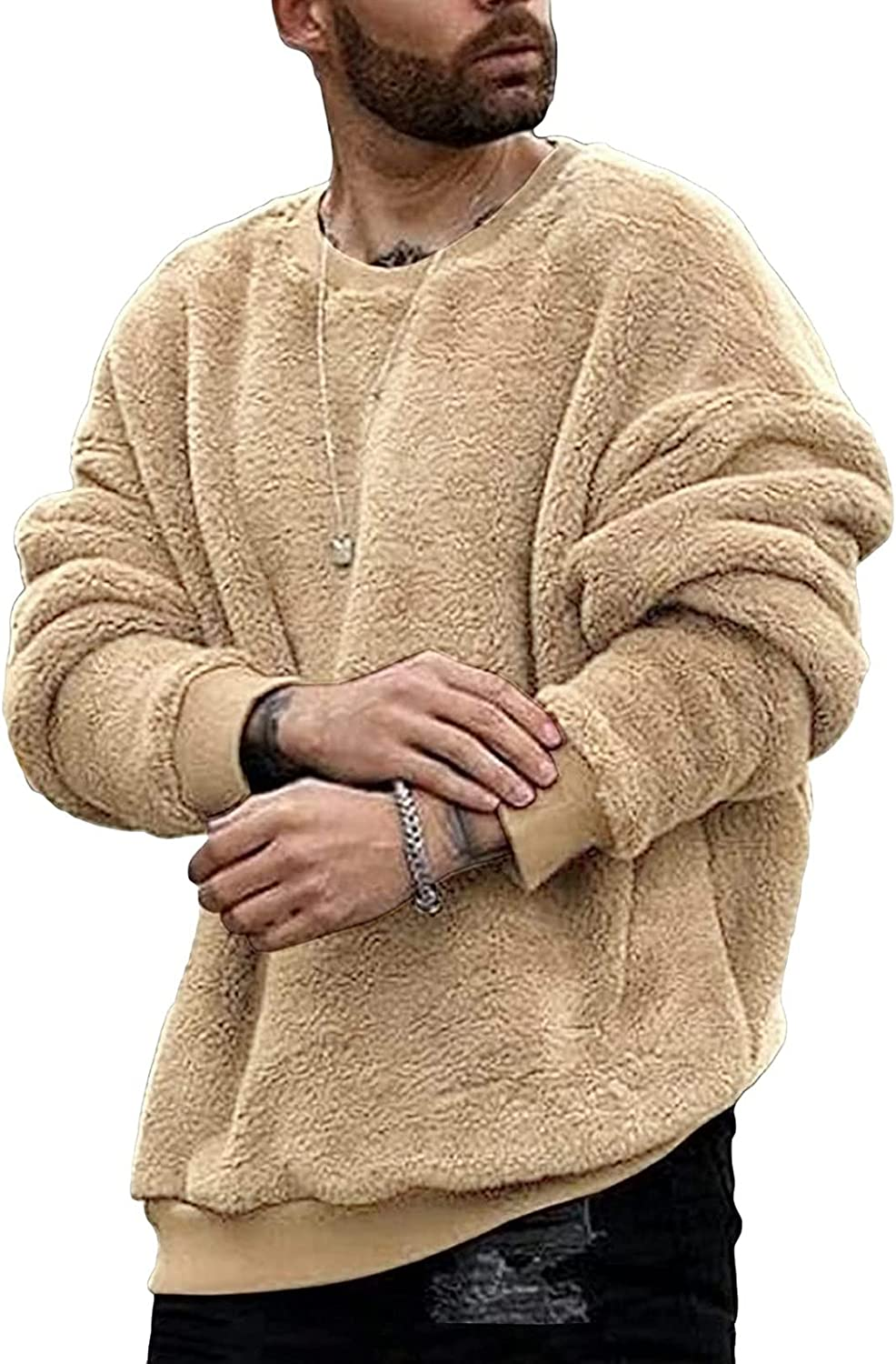 XXBR Fuzzy Pullover for Mens, 2021 Fashion Fluffy Crewneck Cozy Sweatshirts Casual Sweaters Fall Winter Warm Jumper Tops