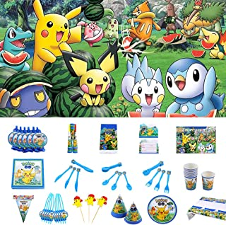 Nidezon Pokemon Birthday Party Supplies Pack, Baby Show Decor 160 Pieces For 10 Guests With Plates, Napkins, Table cover, Cups, backdrop, table cloth,invitation card-Serves 10 Guest
