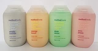 Method Body Wash Set of 4 - Simply Nourish, Energy Boost, Deep Detox & Pure Peace, (3.4 oz, 100mL)