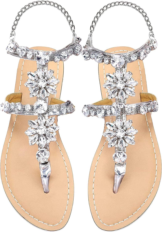 Odema Women's Crystal Diamond Free shipping / New Flat Bohemia Fl Sandals Rhinestone low-pricing
