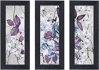Home Attire Nest Art Set of 3 White Rose Framed Paintings (6 X 14 Inch -3)