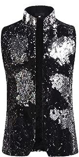 Mens Dress Suit Jacket Vest Double-Sided Color Sequin Tux Party Show Waistcoat