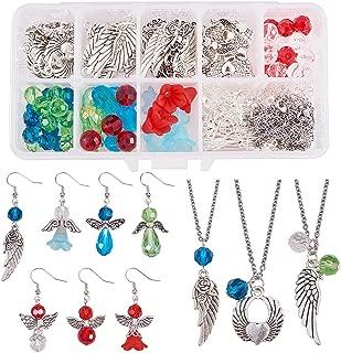 SUNNYCLUE 1 Box Crystal Christmas Bead Earring Making Kits - DIY Make 7 Pairs Angel Glass Bead Christmas Dangle Drop Earrings & 3 Angel Wing Necklace