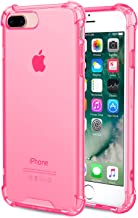 Speira iPhone 8 Plus/iPhone 7 Plus Transparent Case with Reinforced Corners, [Anti-Discoloration] [No-Slip Grip] (Hot Pink)