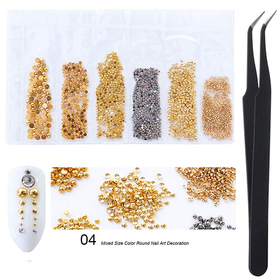 WOKOTO Gold And Black Mix Size Round Metal Nail Art Decorations Studs Rivet Kit With Tweezers Picker Nail Charms 3d Nail Jewelry