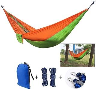 Pigupup Interior Exterior portátiles Ligeros paracaídas de Nylon Doble Camping Hamaca con el árbol de Correas Ropa Ciclismo