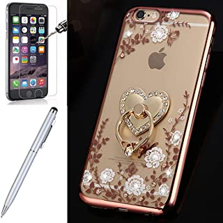 iPhone 6S Case,iPhone 6 Case,ikasus [Free Tempered Glass Screen Protector Stylus] White Butterfly Flower Glitter Bling Crystal Rhinestone Diamond Clear Rubber Rose Plating Soft TPU Bumper Case