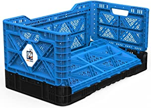 BIGANT Heavy Duty Collapsible & Stackable Plastic Milk Crate - IP734235, 23.8 Gallons, Large Size, Blue, Set of 1, Snap Lo...