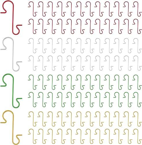 FEPITO 200 Pcs Christmas Ornament Hooks 4 Colors Stainless Steel Christmas Ornament Hangers Perfect for Art Craft Chr...