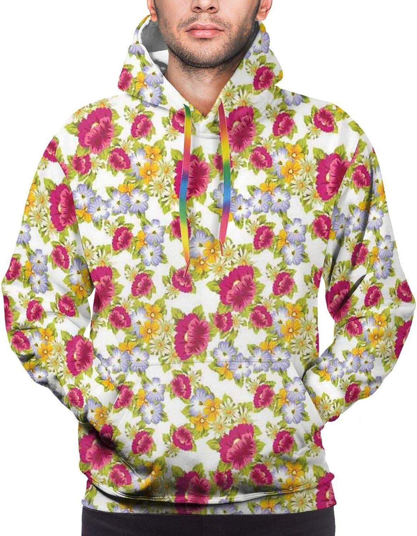 Men's Hoodies Sweatshirts,Pattern with Burgeoning Flowers of Spring Season Botanical Nostalgic Design