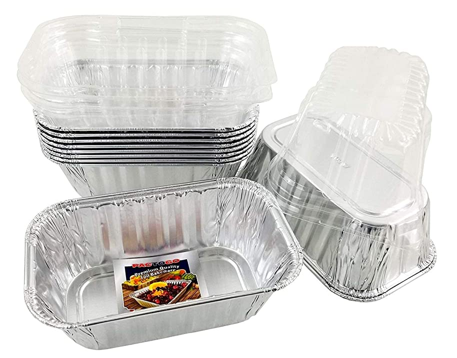 Pactogo Disposable 1 lb. Aluminum Foil Mini Loaf Pans with Clear Dome Lids (Pack of 20 Sets)