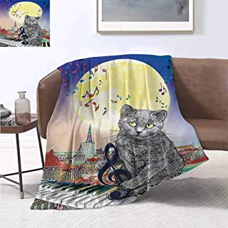 City Warm Microfiber All Season Blanket Musical Notes Cat with The Keyboard on Rooftops in Night Sky Old Town Full Moon Art Print Velvet Plush Throw Blanket 60