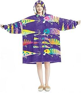 Oversized Hoodie Blanket Sweatshirt, Sherpa Flannel Wearable Blanket Hoodies with Pocket for Adults Men Women, Fishing Lur...