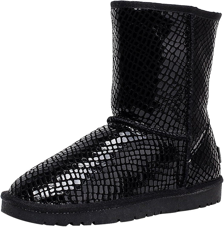 Rismart Girls' Women's Fashion Glittery Black Paillette Ankle Mid-Calf Snow Boots Warm Fur Lined Winter Boots
