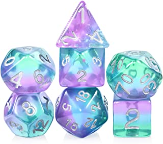 Resin D&D Dice Set,DNDND Translucent Multiable Colors Polyhedral Dice with Organza Bag for DND,Dungeons and Dragons Roleplay Games and Table Games