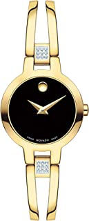 Women's Amorosa Yellow Pvd Case with a Black Dial on a Yellow Pvd Set Bangle (Model:0607155)