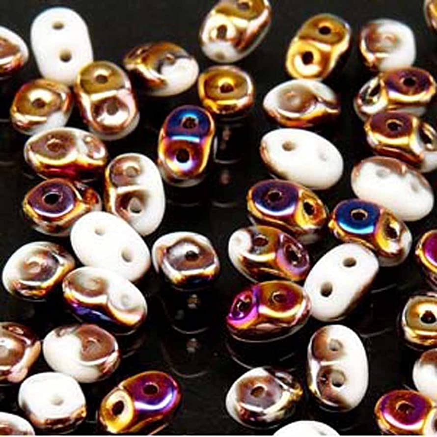 Chalk Sliperit SuperDuo Czech Two Hole Seed Beads 2.5x5mm Approx 20 Grams