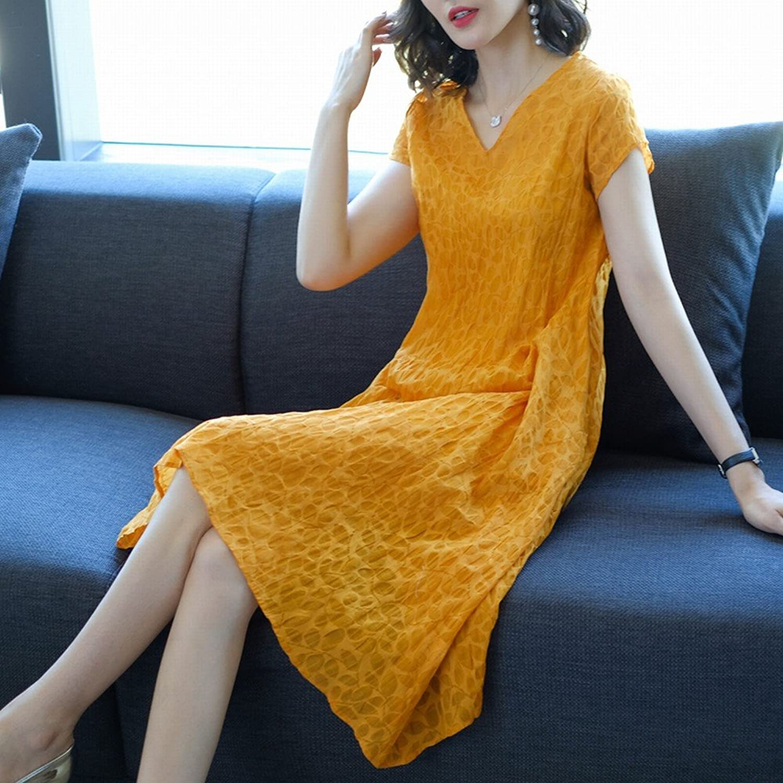 CWJ Loose Thin ShortSleeved VNeck Silk Linen Jacquard ShortSleeved Dress