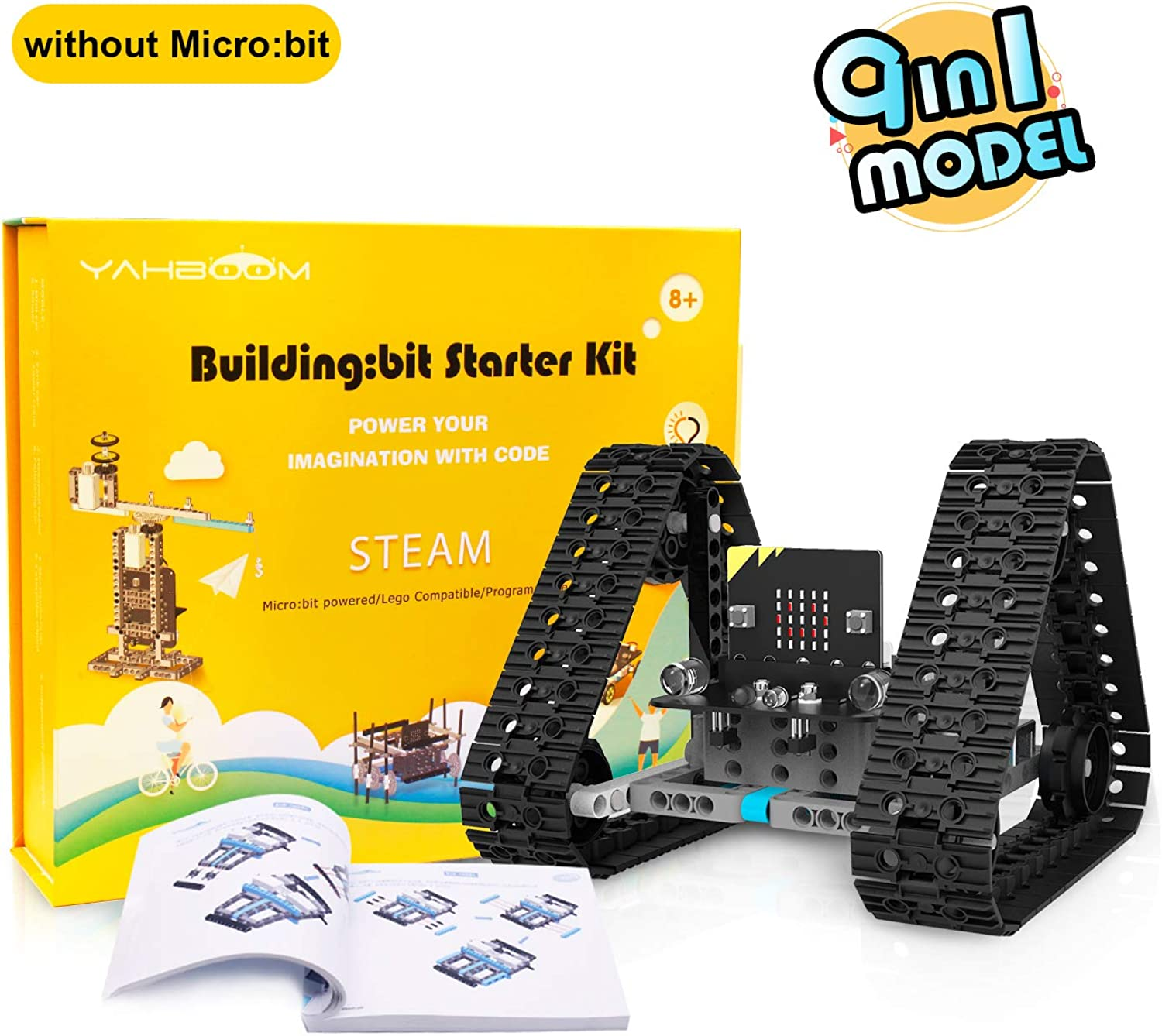 Yahboom Coding Building Blocks 9 in 1 Robot Kit for Kids Micro bit BBC DIY Programmable Robotics STEM Education Learn Coding Toy for 8+(260 Pieces Without Micro bit Board)