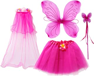 fedio 4Pcs Girls Princess Fairy Costume Set with Wings, Tutu, Wand and Floral Wreath Veil for Children Ages 3-6