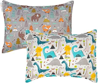 ALVABABY Toddler Pillowcases, Fits 14 x 19, 13 x 18 Kids Pillow, 2 Pack Organic Cotton Baby Pillow Cover Envelope Kids Pil...