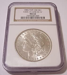 1886 Morgan Silver VAM-1A TOP-100 Line in 6 R4 Dollar MS64 NGC