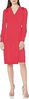 Lark & Ro Amazon Brand Women's Smocked Detail Sleeve Wrap Dress