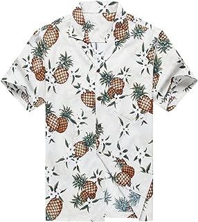 Made in Hawaii Men's Hawaiian Shirt Aloha Shirt Golden Pineapple in White