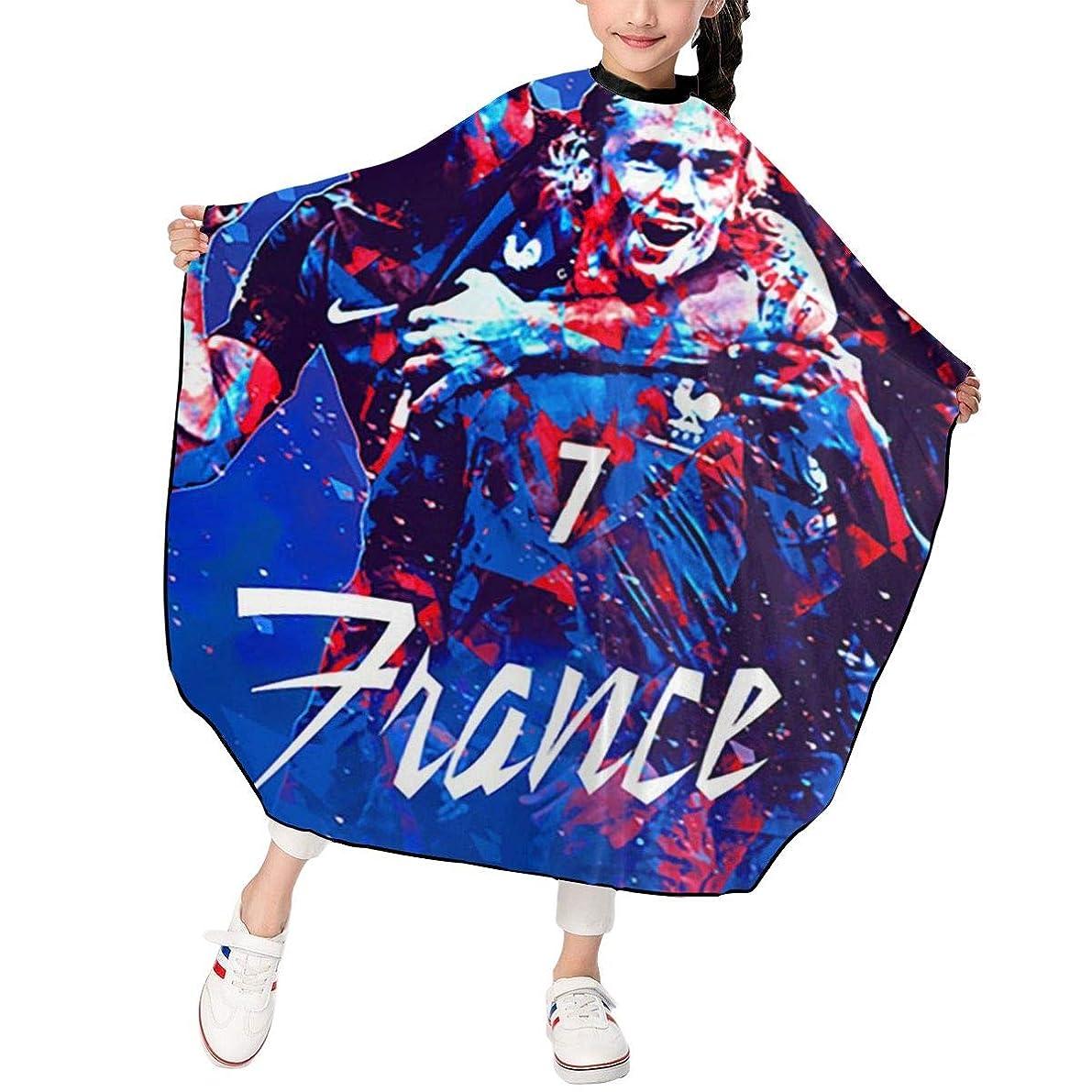 彼ら休憩する男最新の人気ヘアカットエプロン 子供用ヘアカットエプロン120×100cm フランスサッカー 柔らかく、軽量で、繊細なポリエステル生地、肌にやさしい、ドライ