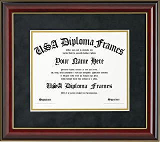 Glossy Cherry Mahogany with Gold Trim Diploma Frame (8.5 x 11)