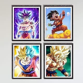 Japanese Manga Anime Ultra Dragon Hero Son Gonku Canvas Art Print for Wall Decoration,8 x 10 Inches,No Frame,Set of 4