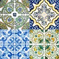 Backsplash Peel and Stick Tile Stickers 24 PC Set (6 x 4PC) Authentic Traditional Talavera Tiles Stickers Bathroom & Kitchen Vinyl Tile Decals Easy to Apply Just Peel & Stick Home Decor