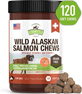 Salmon Oil for Dogs - Grain Free Dog Treats, 120 Chews - Omega 3 Fish Oil Pet Supplement for Joint Support, Shedding, Healthy Coat, Itching Skin Allergy Relief, Arthritis Pain, Anti Inflammatory, USA