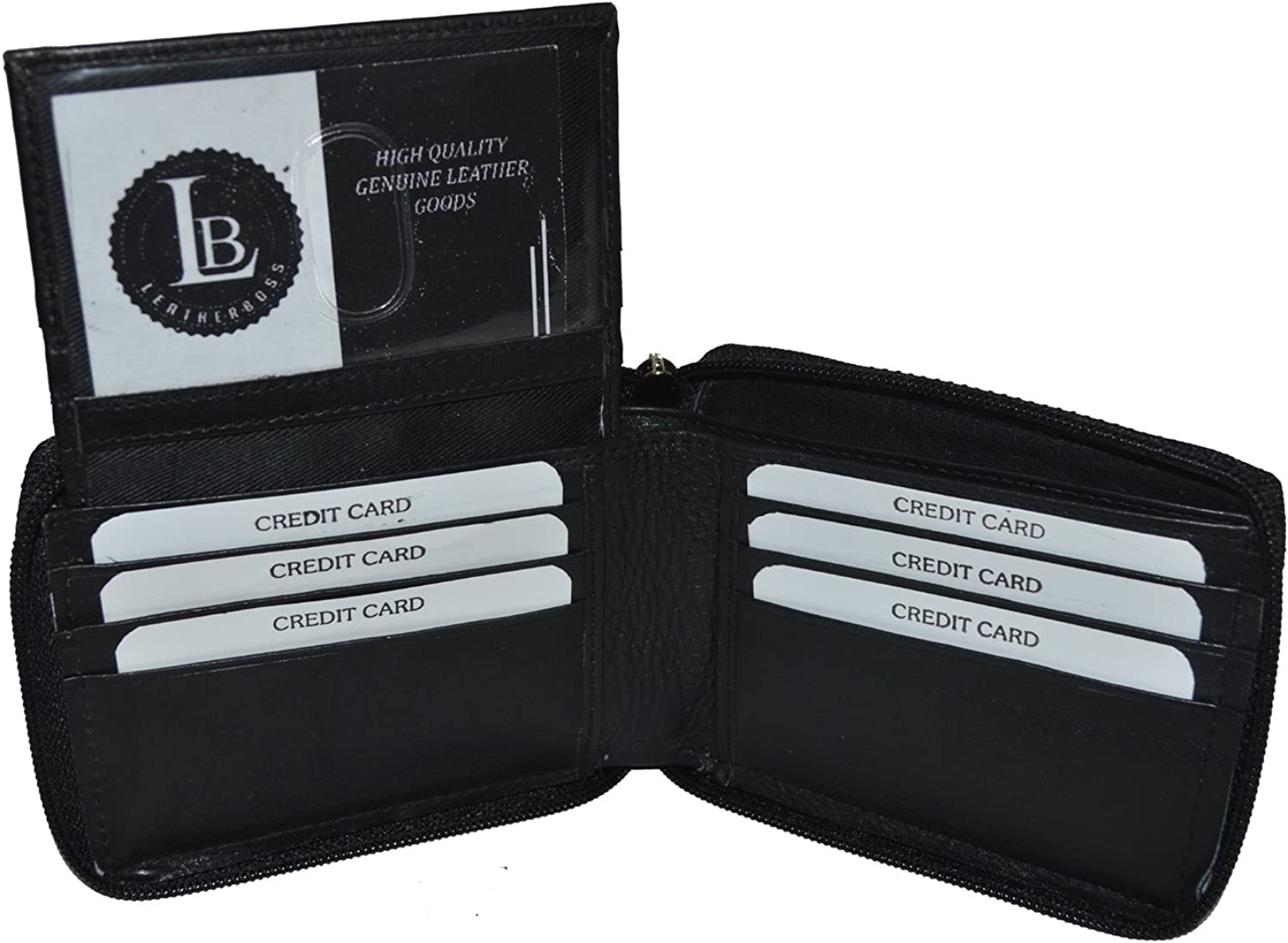 Zipper Bifold Wallet with Outside Id and Credit Card Flap.